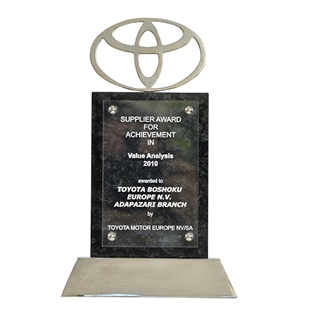 Supplier Award For Achievement in Value Analysis  Toyota Motor Europe  2010