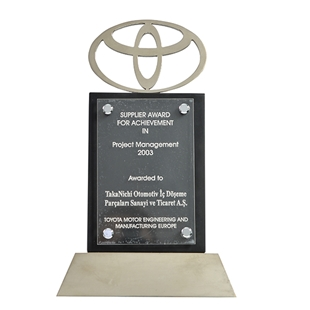 Supplier Award For Achievement in Project Management  - Toyota Motor Engineering and Manufacturing Europe 2003
